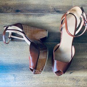 Zara basic brown wooden platform heels sz 39